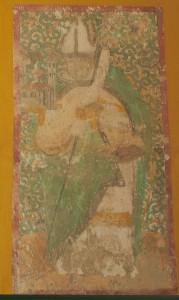 Wandmalerei im Chor, womöglich zeigt diese den Heiligen Wolfgang